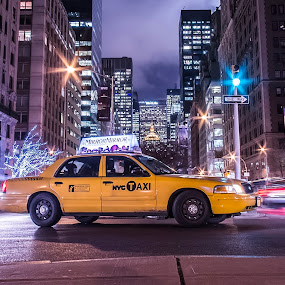 NYC Taxi by Massimo Izzo - City,  Street & Park  Street Scenes ( car, taxi, street, nyc, yellow, park avenue, traffic light, ny, light, usa )