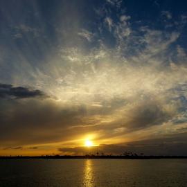 Bayside Sunset 2 by Silvan Saria - Landscapes Sunsets & Sunrises ( orange, sky, red, sunset, beautiful, white, yellow, bayside, photography )