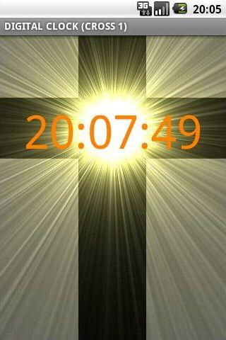 Digital Clock w Thick Cross