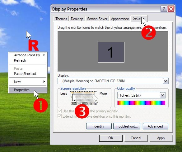To increase screen resolution right click the desktop, select Properties and then Settings. Drag the Screen resolution slider to the right.