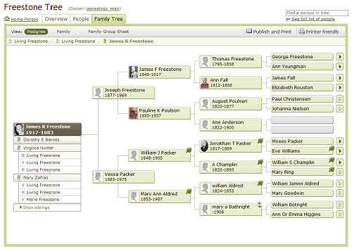 Ancestry Member Trees, pedigree view