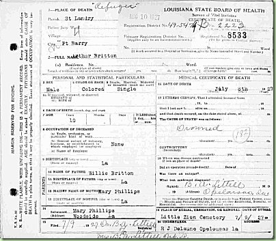 Death certificate of drowning victim