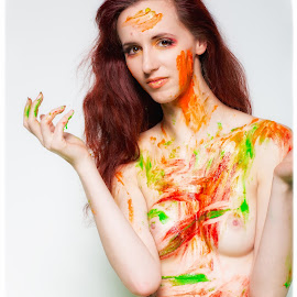 Fruity Nudes... by Tinkers Realm - Nudes & Boudoir Artistic Nude ( model, topless, nude, fight, food, messy )