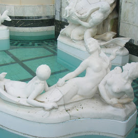 Mermaids by Linda McCormick - Buildings & Architecture Statues & Monuments ( ponds, hearst castle, mermaids at rest, statue of mermaids, mermaids )