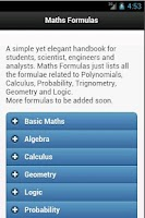 Screenshot of Maths Formulas