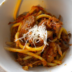 Spicy Pork Ragu over Perciatelli