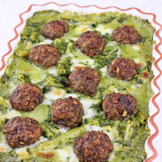 Baked Meatballs with Pasta in Parmesan Spinach Sauce