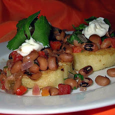 Polenta Rounds With Black-Eyed Pea Topping