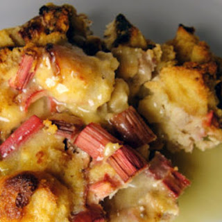 Rhubarb Bread Pudding with Whiskey Sauce