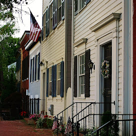 Historical Homes in Georgetown, MD by Alvin Simpson - Buildings & Architecture Homes ( canon, georgetown, history, flags, colonial, homes )