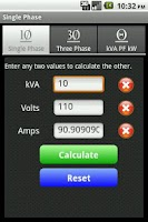 Screenshot of kVA Calculator