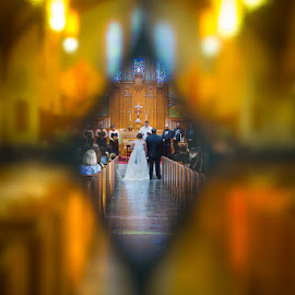 through the glass by Justin Duff - Wedding Ceremony ( church, wedding, diamond, glass, ceremony, bride, groom )