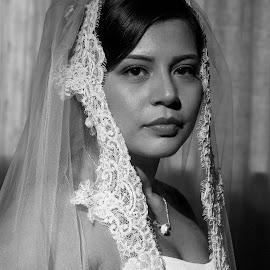 Bride & Veil by Marco Dennis - Wedding Bride ( wedding, mexican, white, veil, bride, black )