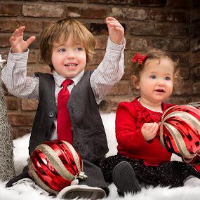 Joyful by Mike DeMicco - Public Holidays Christmas ( seasonal, merry, decoration, innocent, joy, christmas, kids, cute, siblings, holiday, blonde, winter, happy, adorable, smile )