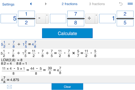Fraction calculator - screenshot