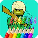 Free painting games for kids. Kids use their finger to paint on touch screen.  Beautyfull Picture of ninjago cartoon fan. APK Icon