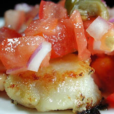 Pan Seared Scallops With Fresh Tomato Caper Salsa