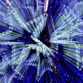 Burst by Carlos André Viana - Abstract Light Painting ( blue, star, zoom burst, mood, mood factory, holiday, christmas, hanukkah, red, green, lights, artifical, lighting, colors, Kwanzaa, black, celebrate, tis the season, festive )