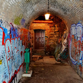 graffiti passage by Sinisa Skrnicki - City,  Street & Park  Neighborhoods ( passage, graffiti, croatia, zagreb, funicular, wall )
