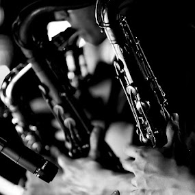 The SAX player by Barry Allan - Black & White Street & Candid