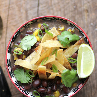 Black Bean and Fire Roasted Corn Chili with Cumin Dusted Tortilla Strips (Gluten-Free & Vegan)