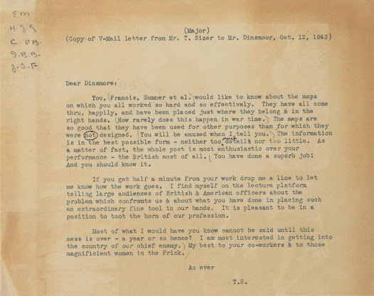 V-mail letter from Theodore Sizer, Monuments Man, reporting from the field, describing the usefulness of the maps.