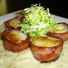 Bacon Wrapped Sea Scallops Served on Creamy Brie Sauce