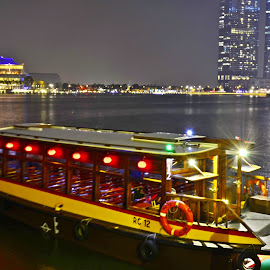 Bum boats, Marina Bay  by Abdul Salim - Transportation Boats ( nightshot, colorful, bum boats, marina bay, singapore )