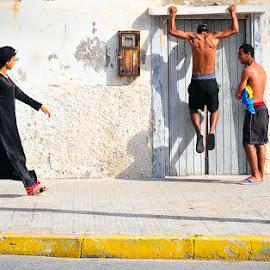 by Szymon Barylski - People Street & Candids ( casablanca, girl, street, boys, men, morocco, casab, shadows )