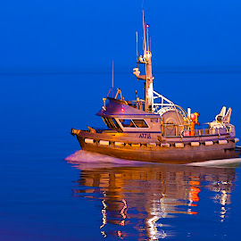 Salmon boat on glass by Jack Molan - Transportation Boats ( blue, serene, aluminum, glass, night, fishing, boat )
