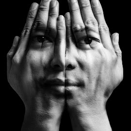 Face of my hand by John Michael Jeiyhegm - People Portraits of Men ( dreaming, hand, b&w, black and white, emotions, shy, men, portrait, emotion, Selfie, self shot, self portrait )