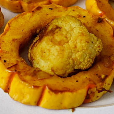 Roasted Delicata Squash and Cauliflower with Curry Sauce