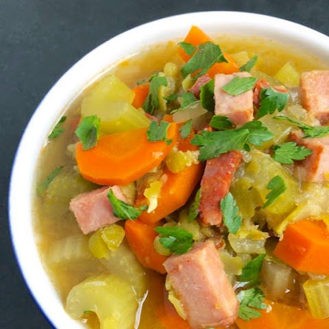 Slow Cooker Split Pea Soup with Ham & Chorizo {Free Knife Skills Class Opportunity}