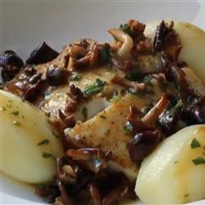 Pan-Roasted Halibut with Mushroom Butter Sauce