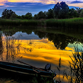 Summer sunset by Cristian Barleanu - Landscapes Cloud Formations ( clouds, sunset, summer, lake, boat,  )