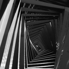 stair way by Calvin Sanjaya - Buildings & Architecture Other Exteriors ( illlusion, black and white, depth of field, architecture )