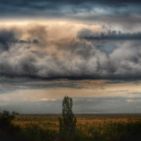 Storm comes by Nat Bolfan-Stosic - Landscapes Cloud Formations ( clouds, winter, village, storm, rain, stormy, weather )