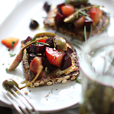 Beet Tartine with Marinated Caper Berries