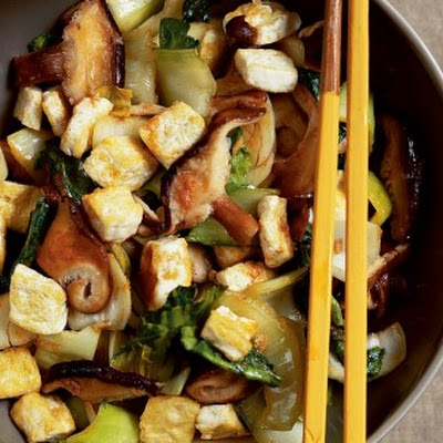 Stir-Fried Shiitake Mushrooms with Tofu and Bok Choy