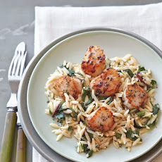Seared Scallops with Greens and Orzo