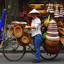 On the street of Hanoi Vietnam. by Andrew Piekut - City,  Street & Park  Street Scenes