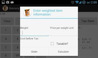 Screenshot of Grocery Store Calculator