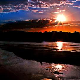 goldwater by Derrill Grabenstein - Landscapes Beaches ( clouds, platte river, river sunrise, sunrise, river )