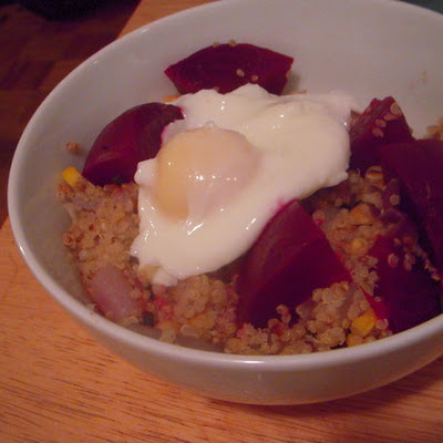 Quinoa Salad With Vegetables & Poached Egg