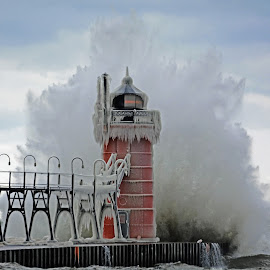 South Haven South Pier Light by Norm Dunlap - Buildings & Architecture Other Exteriors ( michigan, lake michigan, waves, lighthouse, south haven, storm )