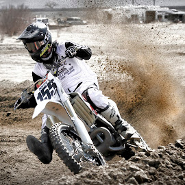 Spray! by M K - Sports & Fitness Motorsports ( person, bike, mud, motocross, male, tires, sports, sport, dirt, motorsports, tire )