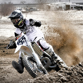 Spray! by M Knight - Sports & Fitness Motorsports ( person, bike, mud, motocross, male, tires, sports, sport, dirt, motorsports, tire )