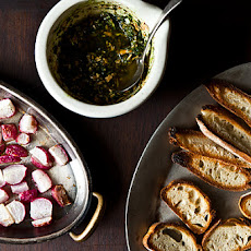 Roasted Radishes with Almond Salsa Verde