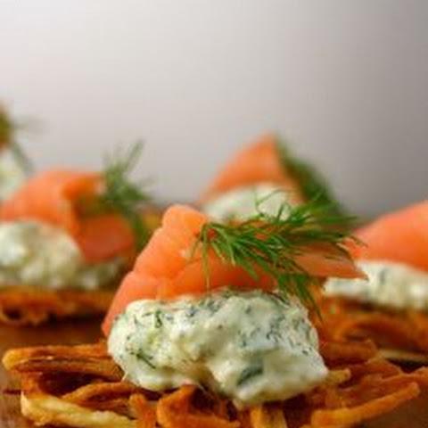 Horseradish and Caper Latkes With Smoked Salmon Recipe | Yummly