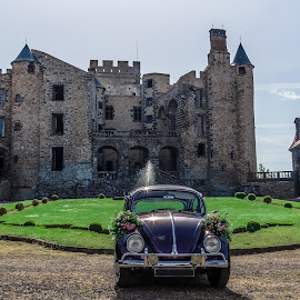 wedding car &  by Stefoto Auvergne - Wedding Other ( car, timber, wood, stone, cityscape, sun, dri, fortress, wedding day, cars, wedding, ladybird, ladybug, flowers,  )
